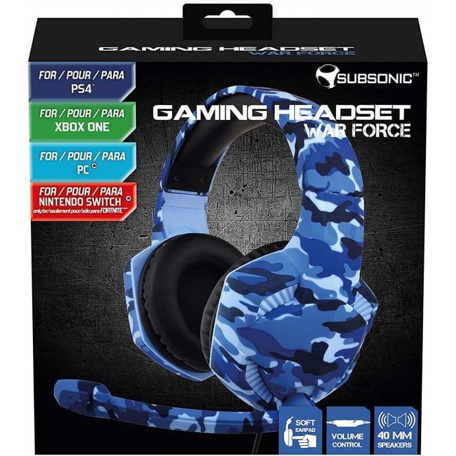Multi Format Blue Camo Wired Headset