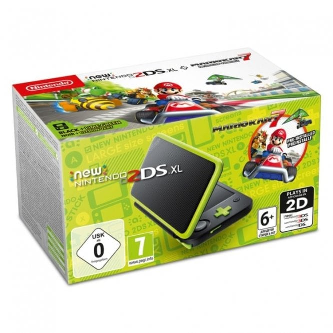 New Nintendo 2DS XL Black & Lime Green with Mario Kart 7