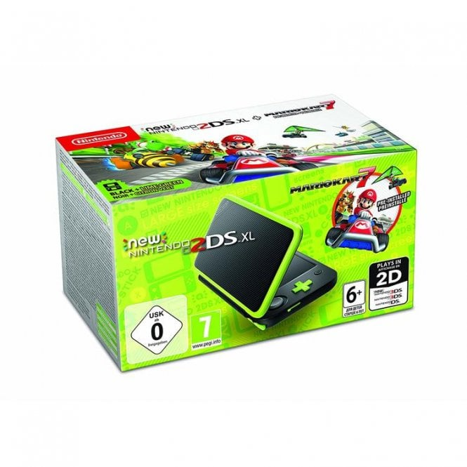 Nintendo 2DS XL Black and Lime Green Mario Kart 7 Bundle