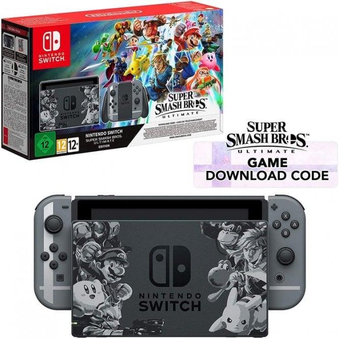 Nintendo Switch Grey Console Super Smash Bros. Ultimate Edition Bundle