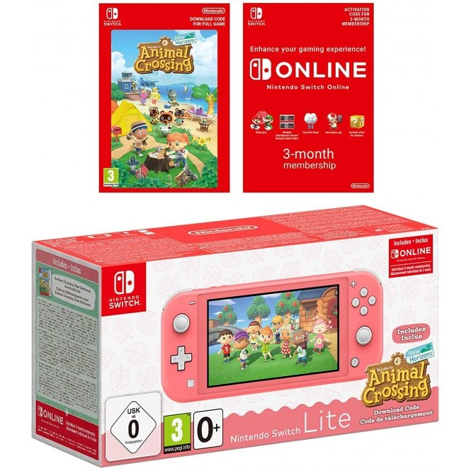 Nintendo Switch Lite Coral & Animal Crossing New Horizons & Nintendo Switch Online 3 months