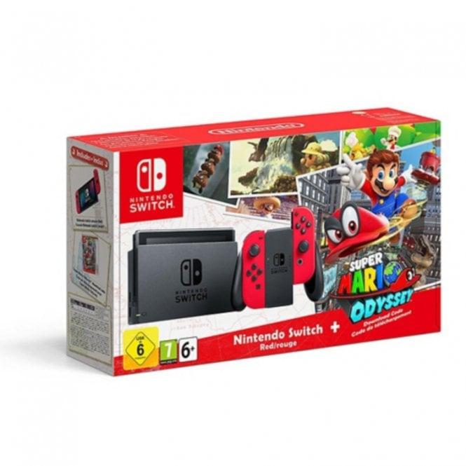 Nintendo Switch Red Super Mario Odyssey Bundle