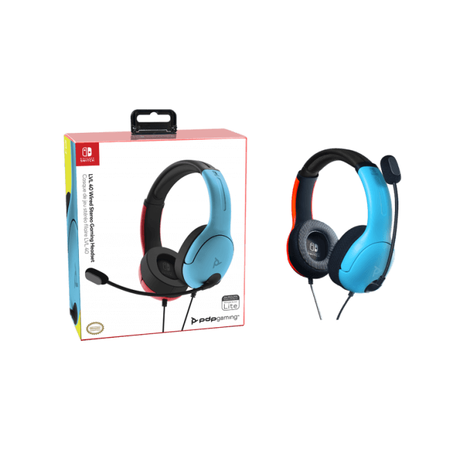 PDP Nintendo Switch Neon Red & Blue Level 40 Wired Headset