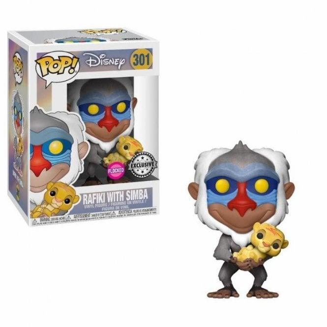 Rafiki with Baby Simba Flocked Exclusive Flocked POP! Vinyl