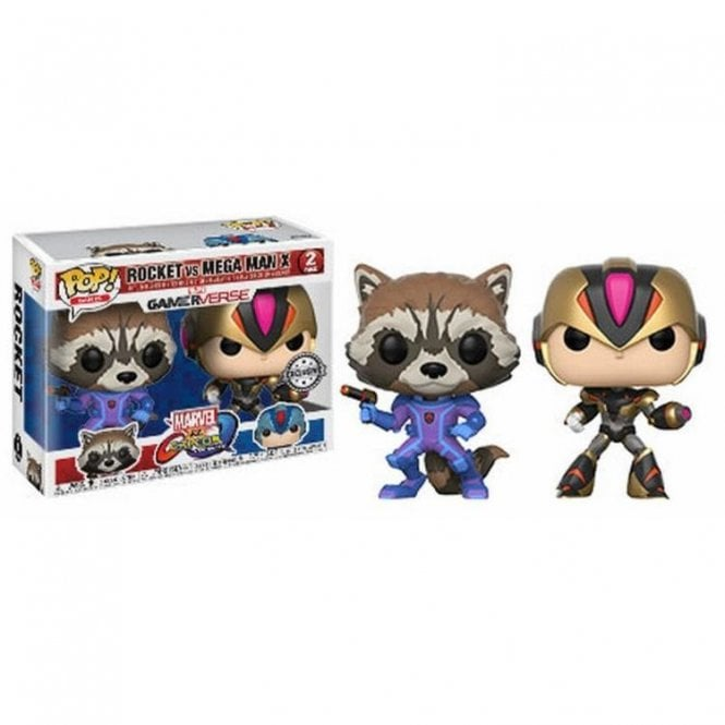 Rocket Purple and Black vs Mega Man Black and Gold Pop! Vinyl